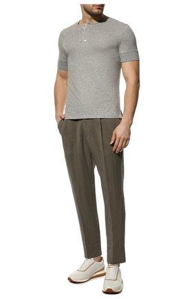 Мужская хлопковая футболка TOM FORD светло-серого цвета, арт. BU402/TFJ957 | Фото 2