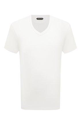 Мужская хлопковая футболка TOM FORD белого цвета, арт. BU402/TFJ894   Фото 1