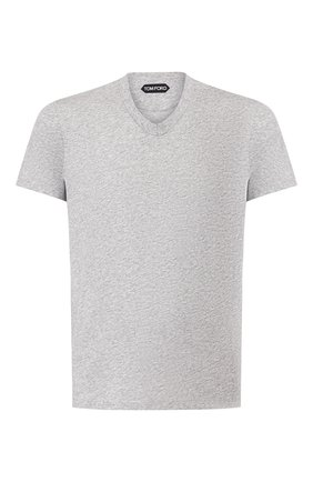 Мужская хлопковая футболка TOM FORD светло-серого цвета, арт. BU402/TFJ894 | Фото 1