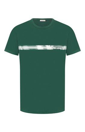 Мужская хлопковая футболка MONCLER зеленого цвета, арт. F1-091-8C707-10-8390T   Фото 1
