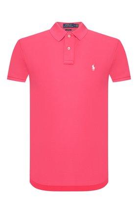 Мужское хлопковое поло POLO RALPH LAUREN розового цвета, арт. 710795080   Фото 1