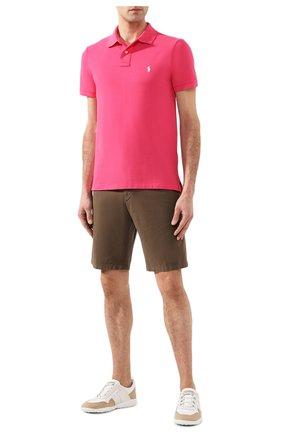 Мужское хлопковое поло POLO RALPH LAUREN розового цвета, арт. 710795080   Фото 2
