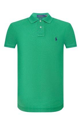 Мужское хлопковое поло POLO RALPH LAUREN зеленого цвета, арт. 710795080 | Фото 1 (Рукава: Короткие; Материал внешний: Хлопок; Длина (для топов): Стандартные; Застежка: Пуговицы)