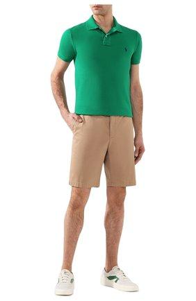 Мужское хлопковое поло POLO RALPH LAUREN зеленого цвета, арт. 710795080 | Фото 2 (Рукава: Короткие; Материал внешний: Хлопок; Длина (для топов): Стандартные; Застежка: Пуговицы)