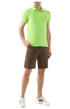 Мужское хлопковое поло POLO RALPH LAUREN светло-зеленого цвета, арт. 710795080 | Фото 2 (Рукава: Короткие; Материал внешний: Хлопок; Длина (для топов): Стандартные; Застежка: Пуговицы)