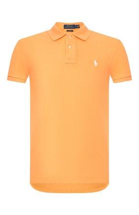 Мужское хлопковое поло POLO RALPH LAUREN оранжевого цвета, арт. 710795080   Фото 1 (Рукава: Короткие; Материал внешний: Хлопок; Длина (для топов): Стандартные; Застежка: Пуговицы)
