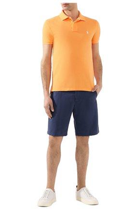 Мужское хлопковое поло POLO RALPH LAUREN оранжевого цвета, арт. 710795080   Фото 2 (Рукава: Короткие; Материал внешний: Хлопок; Длина (для топов): Стандартные; Застежка: Пуговицы)