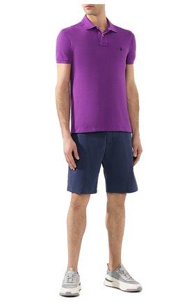 Мужское хлопковое поло POLO RALPH LAUREN фиолетового цвета, арт. 710795080   Фото 2