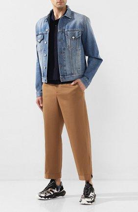 Мужской хлопковые брюки NEIL BARRETT бежевого цвета, арт. PBPA744/N014 | Фото 2