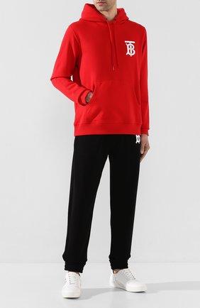 Мужской хлопковое худи BURBERRY красного цвета, арт. 8025506 | Фото 2
