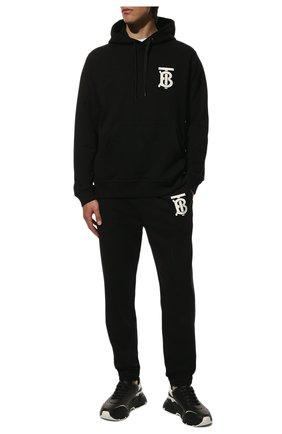 Мужской хлопковое худи BURBERRY черного цвета, арт. 8024604 | Фото 2