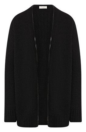 Женский кардиган из смеси шерсти и вискозы SAINT LAURENT черного цвета, арт. 605878/YAJT2 | Фото 1