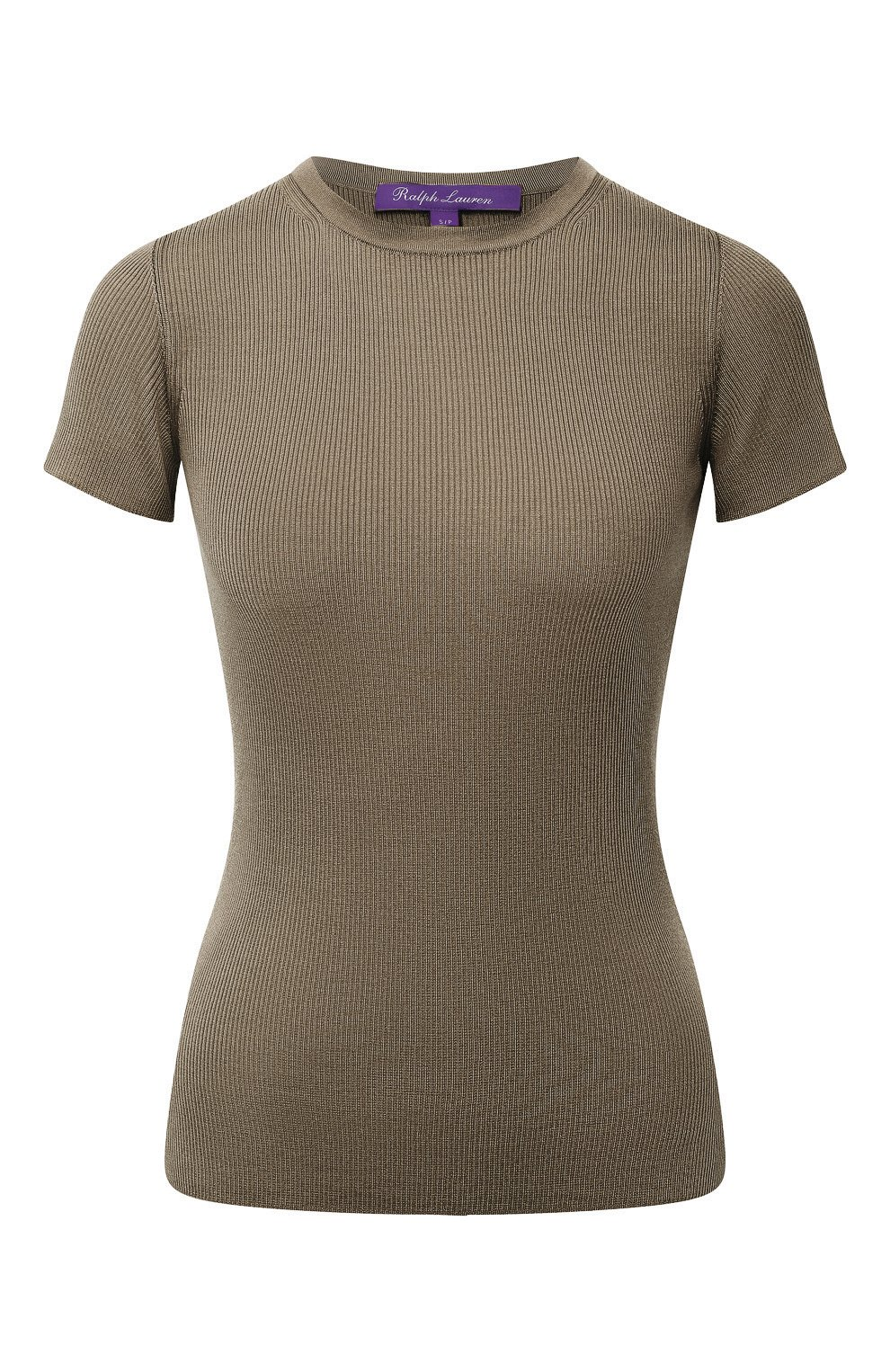 Женская шелковая футболка RALPH LAUREN хаки цвета, арт. 290710199 | Фото 1