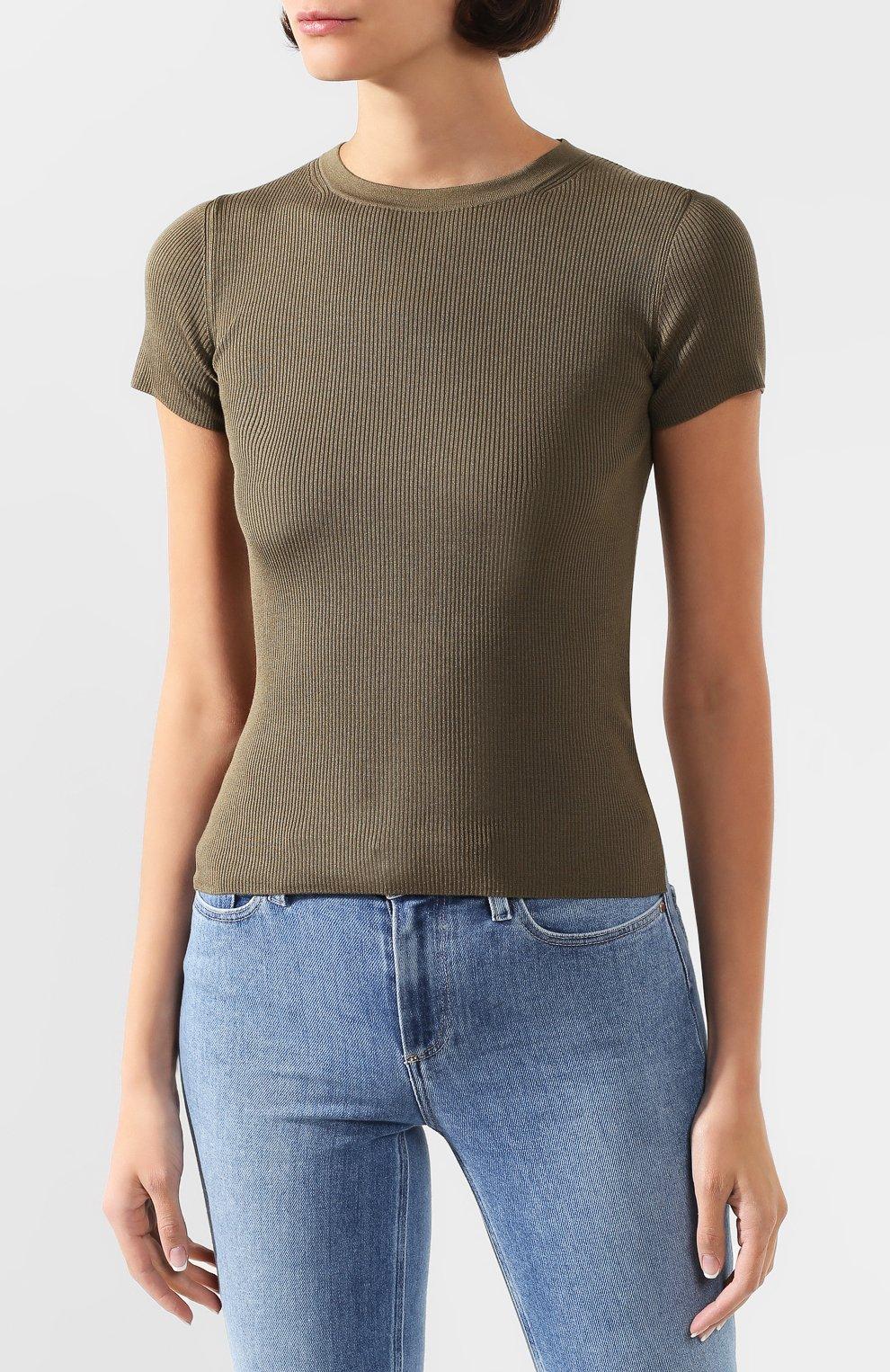Женская шелковая футболка RALPH LAUREN хаки цвета, арт. 290710199 | Фото 3