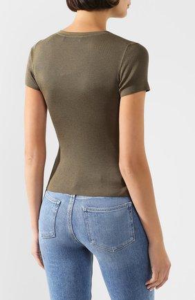 Женская шелковая футболка RALPH LAUREN хаки цвета, арт. 290710199 | Фото 4