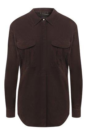 Женская замшевая рубашка GIORGIO ARMANI коричневого цвета, арт. 5AC01P/5AP13 | Фото 1 (Длина (для топов): Стандартные; Рукава: Длинные; Статус проверки: Проверена категория; Принт: Без принта; Женское Кросс-КТ: Рубашка-одежда; Материал внешний: Замша)