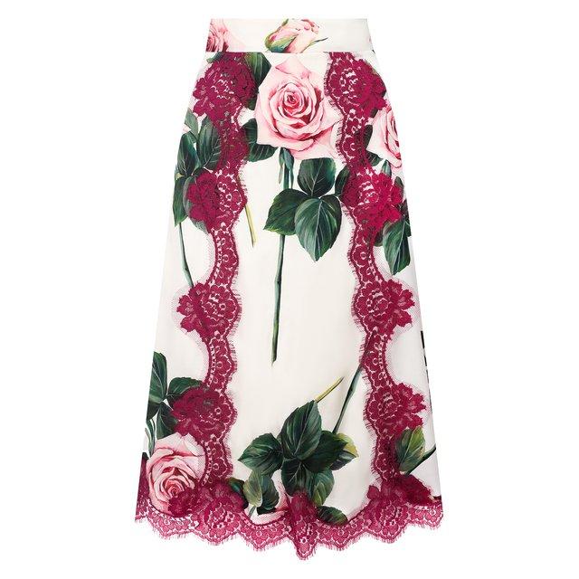 Юбка из смеси шелка и хлопка Dolce & Gabbana