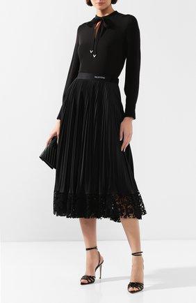 Женская юбка-миди VALENTINO черного цвета, арт. TB3MD01H575 | Фото 2