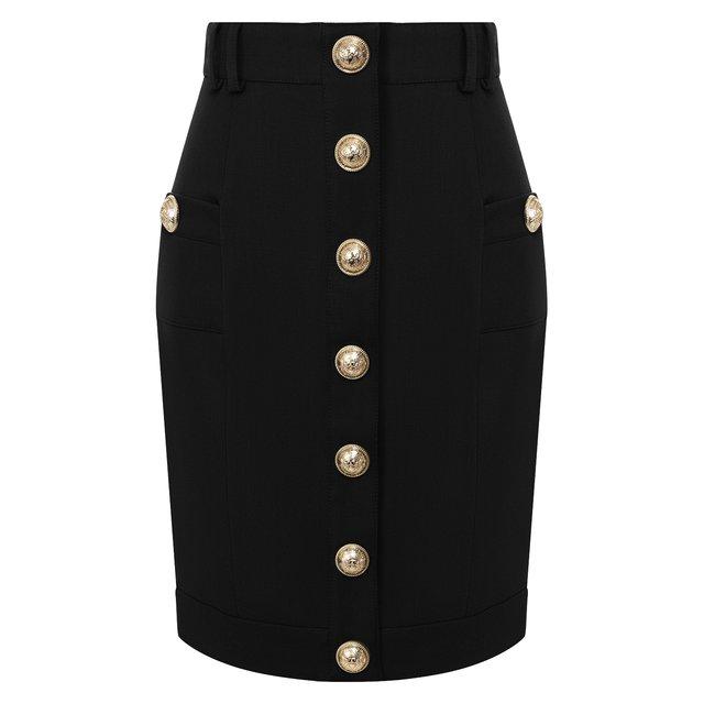 Шерстяная юбка Balmain