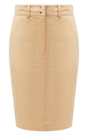 Женская юбка из смеси хлопка и вискозы TOM FORD темно-бежевого цвета, арт. GC5455-FAX615 | Фото 1