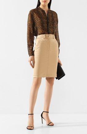 Женская юбка из смеси хлопка и вискозы TOM FORD темно-бежевого цвета, арт. GC5455-FAX615 | Фото 2