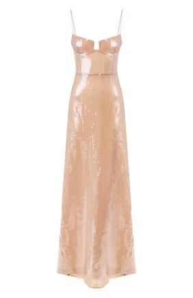 Женское платье с пайетками GALVAN LONDON бежевого цвета, арт. 1828 LIQUID SEQUIN | Фото 1