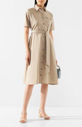 Женское хлопковое платье PIETRO BRUNELLI бежевого цвета, арт. AG0421/LG/C0P319   Фото 2
