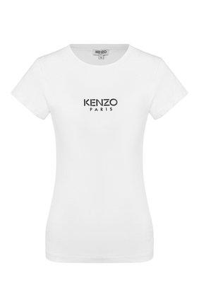 Женская хлопковая футболка KENZO белого цвета, арт. FA52TS710937 | Фото 1