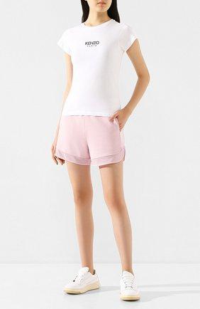 Женская хлопковая футболка KENZO белого цвета, арт. FA52TS710937 | Фото 2