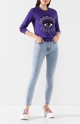 Женская хлопковый свитшот KENZO фиолетового цвета, арт. FA52SW7104XC | Фото 2