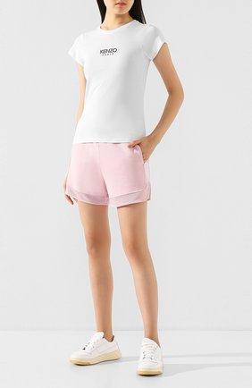 Женские хлопковые шорты KENZO светло-розового цвета, арт. FA52PA719952   Фото 2 (Статус проверки: Проверена категория; Длина Ж (юбки, платья, шорты): Мини; Материал внешний: Хлопок; Стили: Спорт-шик; Женское Кросс-КТ: Шорты-одежда)