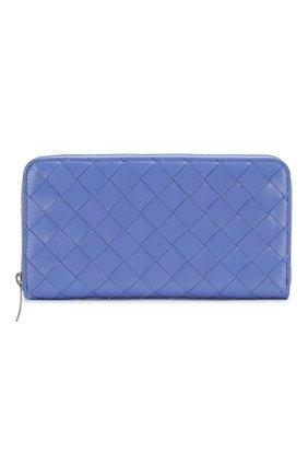 Женские кожаный кошелек BOTTEGA VENETA светло-голубого цвета, арт. 608051/VCPP2 | Фото 1
