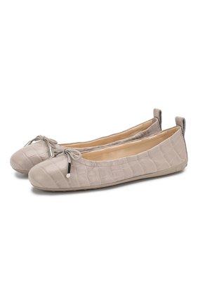 Женские кожаные балетки TOD'S серого цвета, арт. XXW12C0CJ10NBW | Фото 1