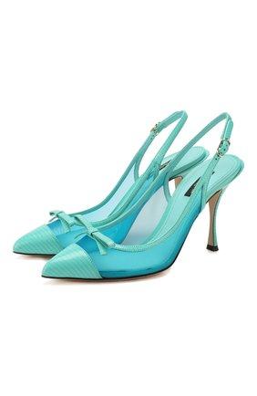 Женская комбинированные туфли DOLCE & GABBANA голубого цвета, арт. CG0400/AX047 | Фото 1