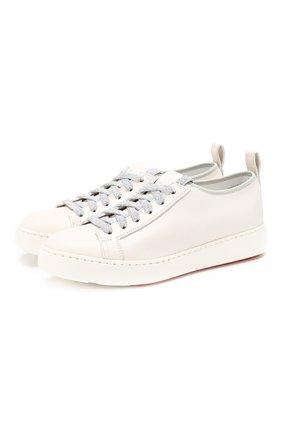 Женские кожаные кеды SANTONI белого цвета, арт. WBCE60650BARGRSGI50 | Фото 1