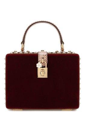 Женская сумка dolce box DOLCE & GABBANA бордового цвета, арт. BB5970/A8L66 | Фото 1 (Размер: mini; Ремень/цепочка: На ремешке; Женское Кросс-КТ: Вечерняя сумка; Сумки-технические: Сумки top-handle; Материал: Текстиль; Случай: Вечерний)