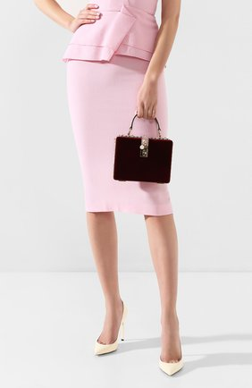 Женская сумка dolce box DOLCE & GABBANA бордового цвета, арт. BB5970/A8L66 | Фото 2 (Размер: mini; Ремень/цепочка: На ремешке; Женское Кросс-КТ: Вечерняя сумка; Сумки-технические: Сумки top-handle; Материал: Текстиль; Случай: Вечерний)