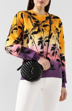 Женская сумка vinyle SAINT LAURENT черного цвета, арт. 610436/DV708   Фото 2 (Материал: Натуральная кожа; Ошибки технического описания: Нет высоты, Нет ширины; Ремень/цепочка: На ремешке; Сумки-технические: Сумки через плечо; Размер: medium)
