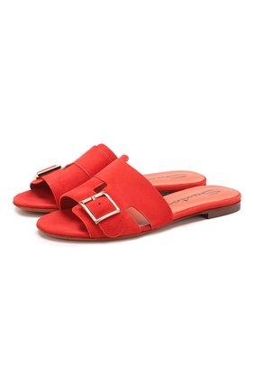 Женские замшевые шлепанцы SANTONI красного цвета, арт. WHBF57658HI1RMGDR50 | Фото 1