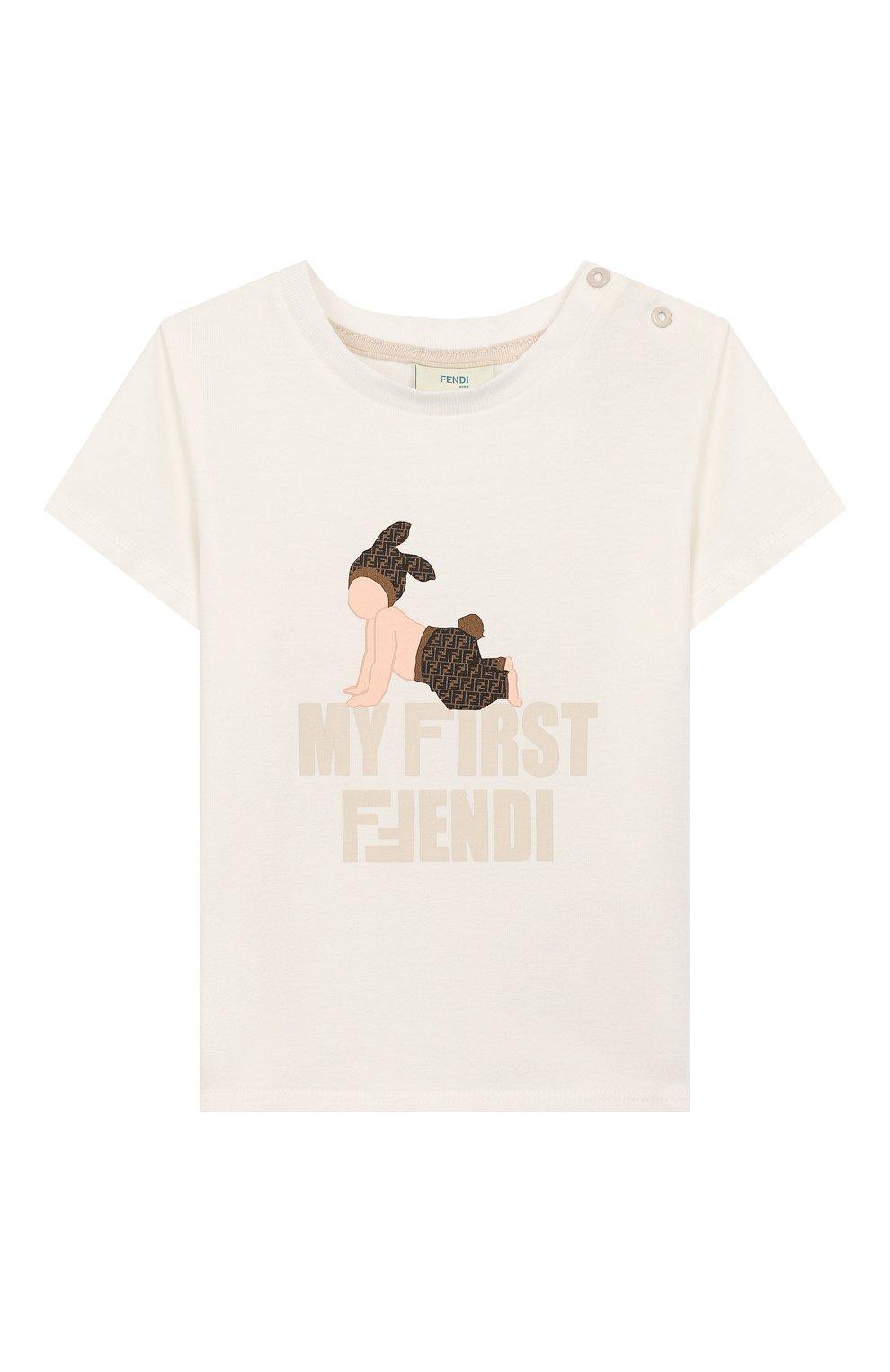 Детский хлопковая футболка FENDI белого цвета, арт. BUI010/ST8/12M-24M   Фото 1