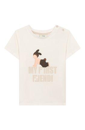 Детский хлопковая футболка FENDI белого цвета, арт. BUI010/ST8/12M-24M | Фото 1