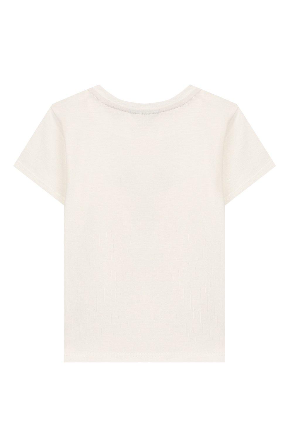 Детский хлопковая футболка FENDI белого цвета, арт. BUI010/ST8/12M-24M   Фото 2