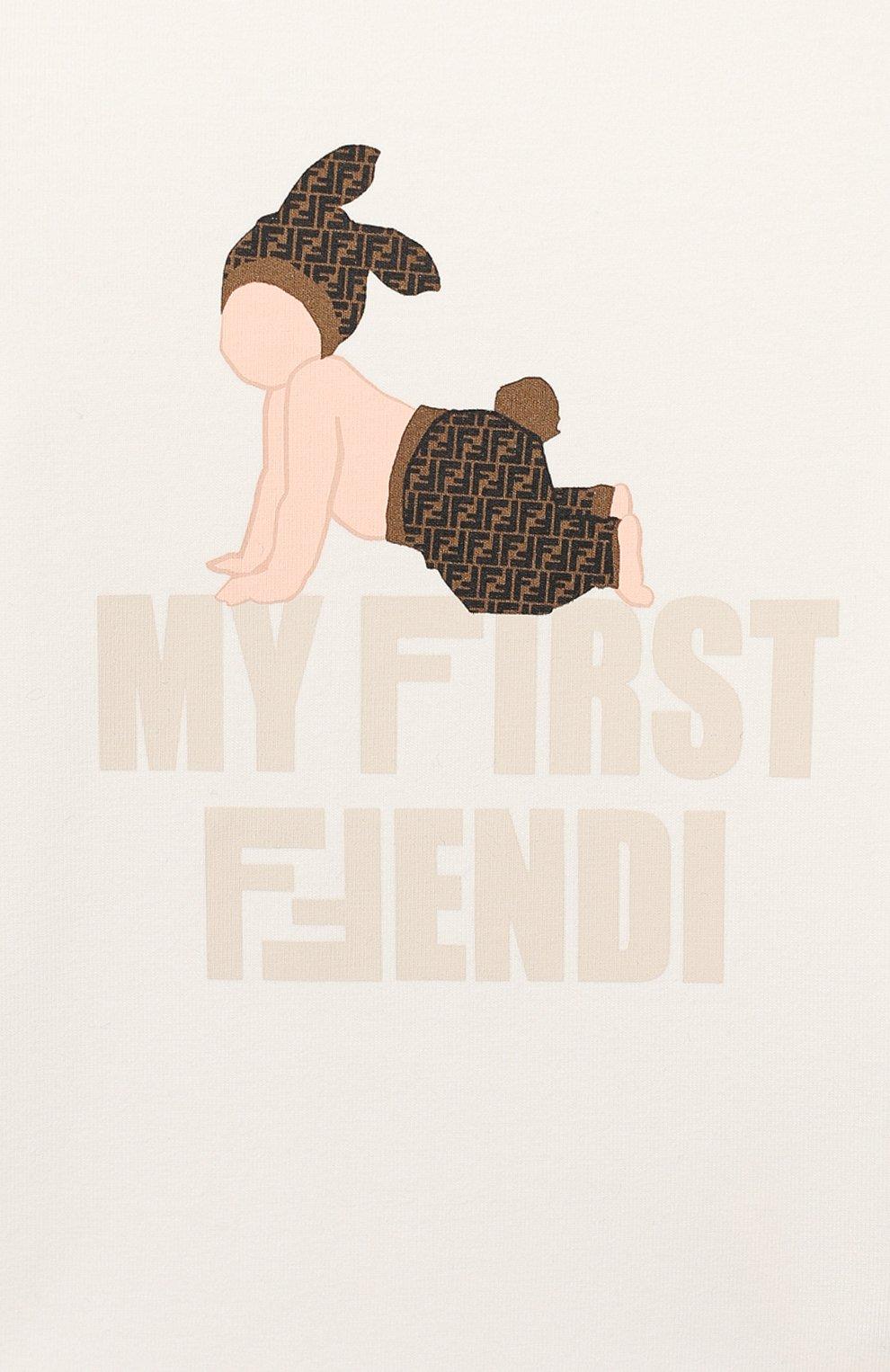 Детский хлопковая футболка FENDI белого цвета, арт. BUI010/ST8/12M-24M   Фото 3