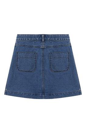 Детская юбка из хлопка и льна BURBERRY голубого цвета, арт. 8023020   Фото 2