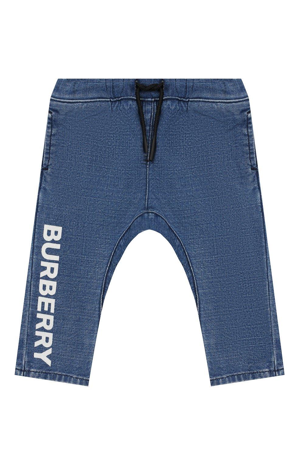 Детские джинсы BURBERRY темно-синего цвета, арт. 8014025 | Фото 1 (Материал внешний: Хлопок, Лен; Ростовка одежда: 12 мес | 80 см, 18 мес | 86 см, 3 года | 98 см, 24 мес | 92 см)