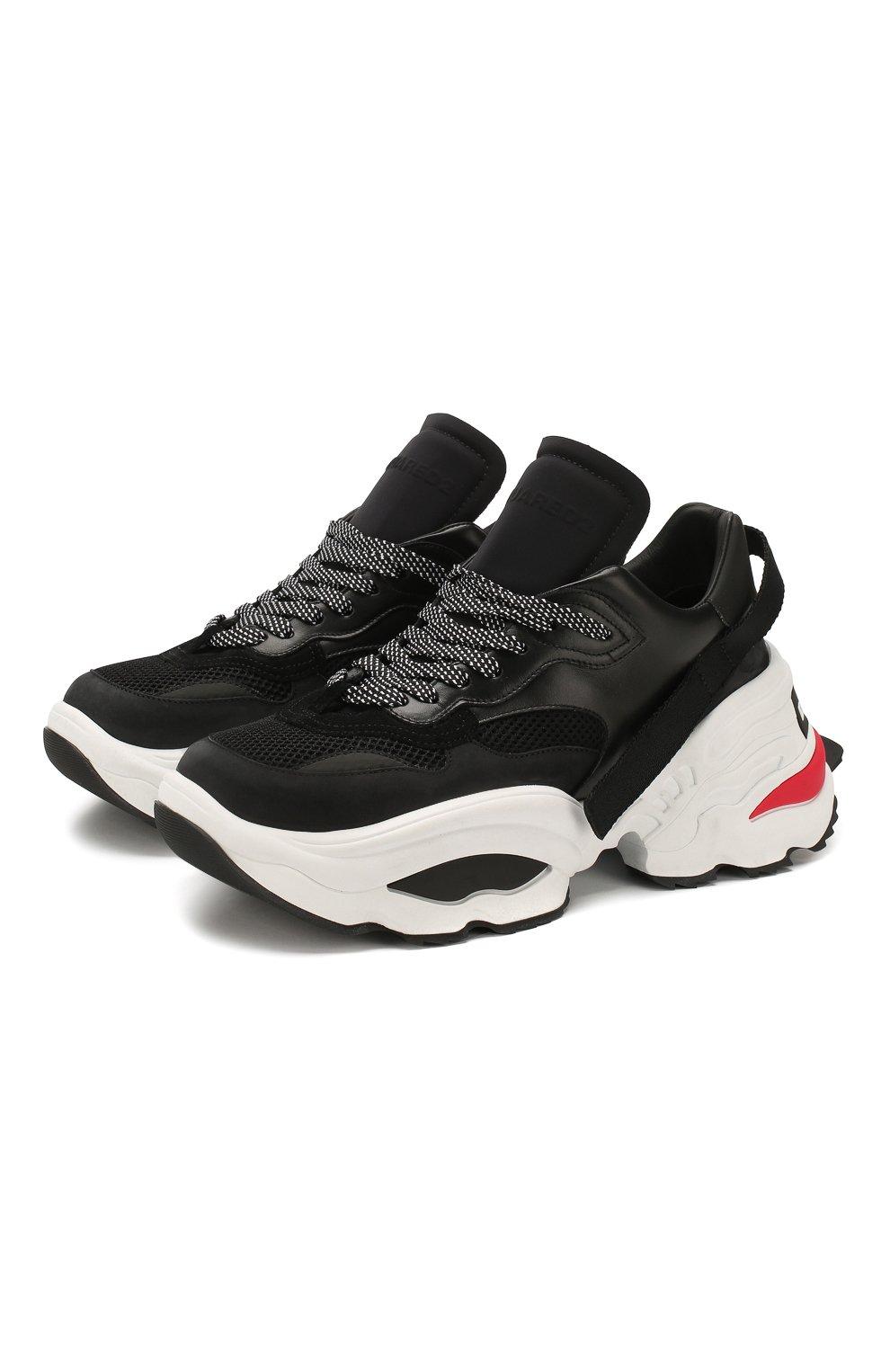 Мужские комбинированные кроссовки DSQUARED2 черного цвета, арт. SNM0088 01502113 | Фото 1