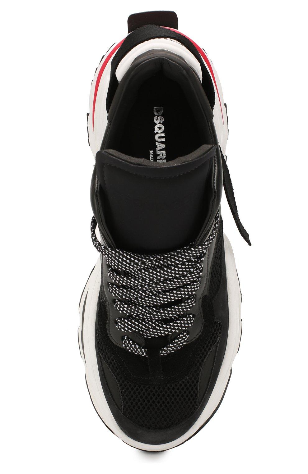 Мужские комбинированные кроссовки DSQUARED2 черного цвета, арт. SNM0088 01502113 | Фото 5
