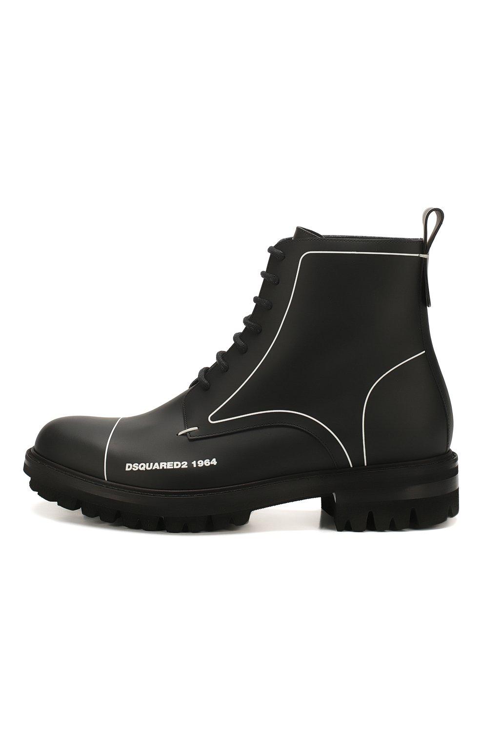 Мужские кожаные ботинки DSQUARED2 черного цвета, арт. ABM0051 01500001 | Фото 3
