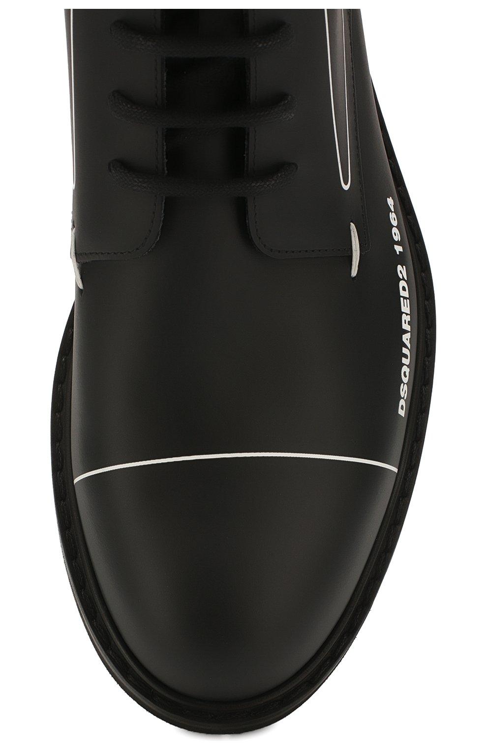 Мужские кожаные ботинки DSQUARED2 черного цвета, арт. ABM0051 01500001 | Фото 5