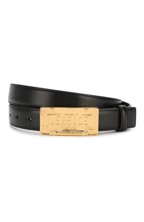 Мужской кожаный ремень VERSACE черного цвета, арт. DCU8008/DVTP1 | Фото 1